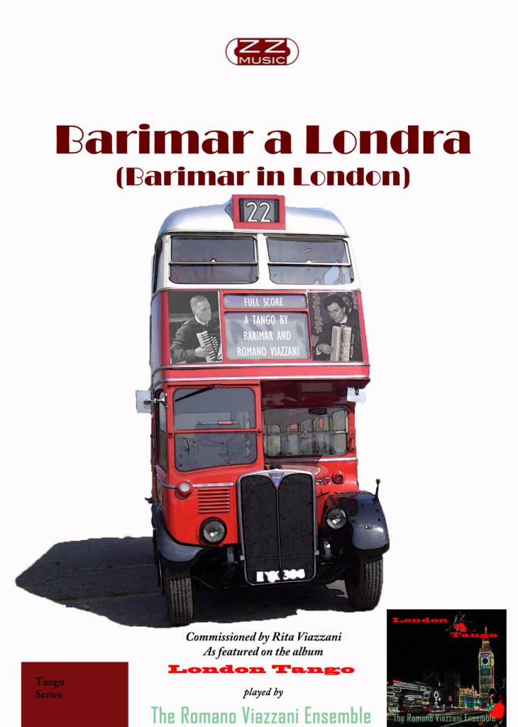 Barimar a Londra (Barimar in London) Sheet music cover Full Score RT London Bus with Romano Viazzani and Barimar posters