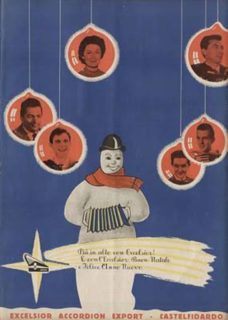 Excelsior Christmas Card showing Barimar, Wolmer Beltrami, Peppino Principe and other accordionists