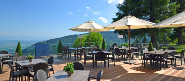 Grand Hotel des Rasses and stunning terrace with a view