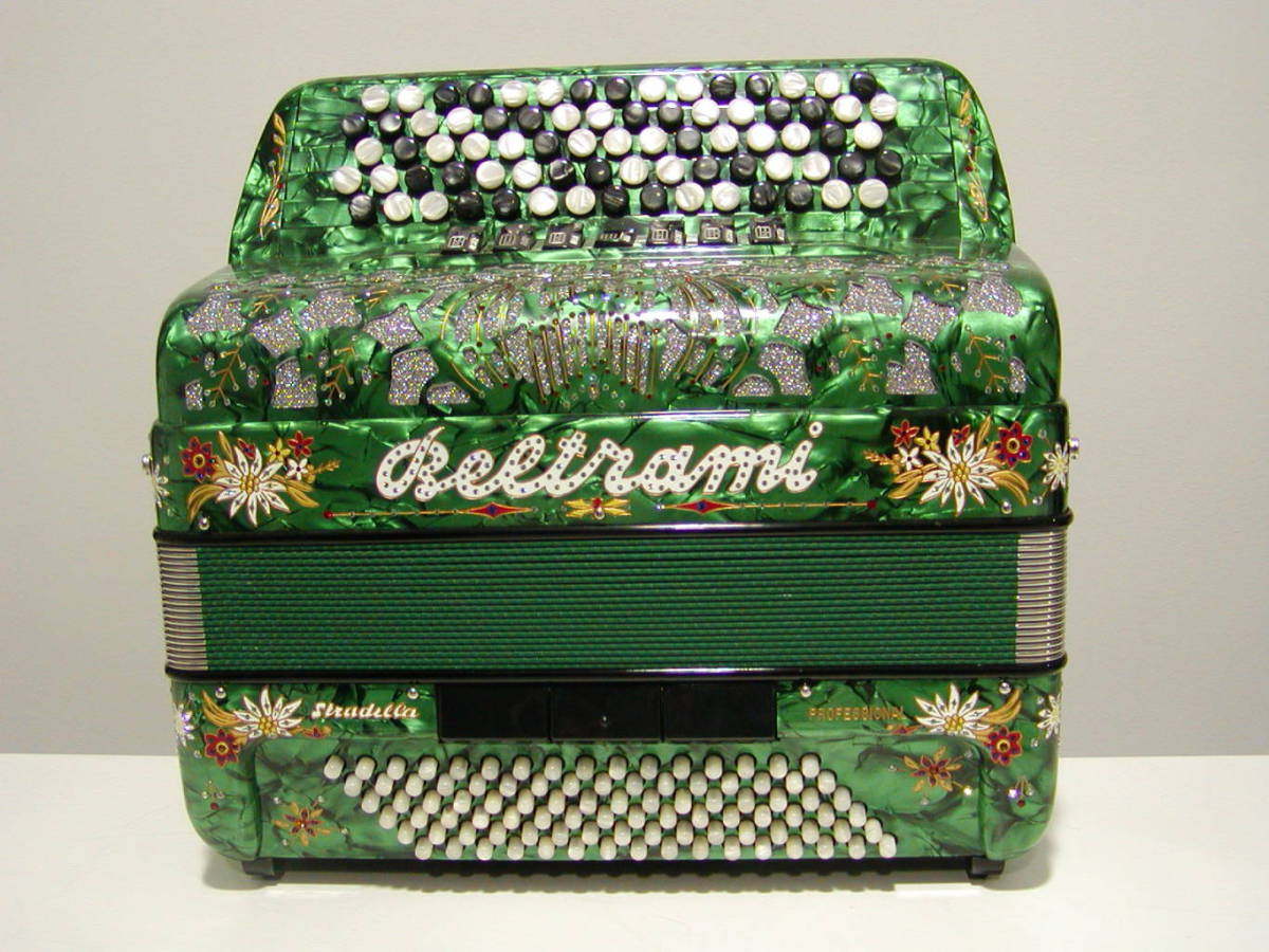 "A good starter model for adults and older children equipped with a full range of registers and good quality reeds. Available in a full range of colours. This differs from the model shown in that it is equipped with 4 sets of treble reeds giving it 11 treble registers. Model shown is green with the ""Stella Alpina"" (Eidelweiss) decoration."