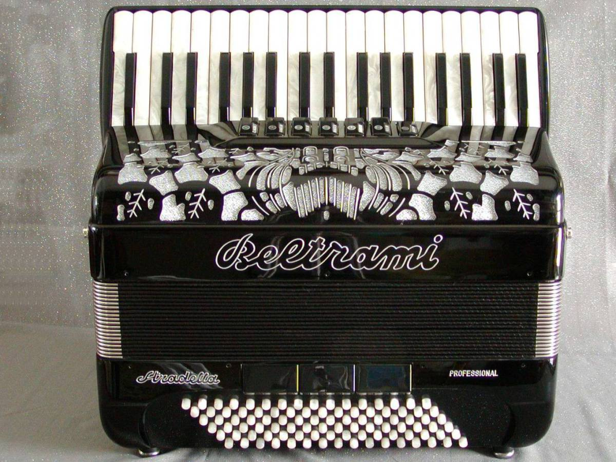 A professional popular-sized model for adults and older children with only 3 treble and 4 bass sets of hand-made reeds. Available in a full range of colours. Model shown in Black.