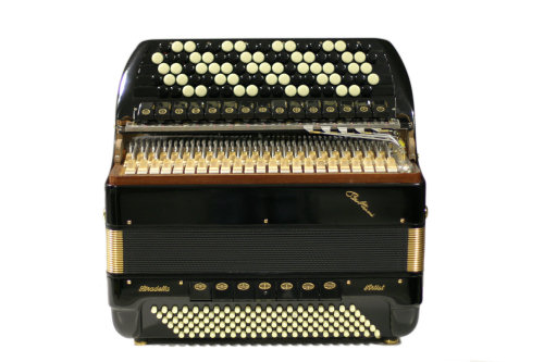 """A professional quality 5-voice treble, 120 bass, 46 treble-button instrument with hand made """"a mano"""" reeds two sets of which are in the cassotto tone chamber and three non-cassotto. Available in a full range of colours. Model shown is with optional gold finishing."""