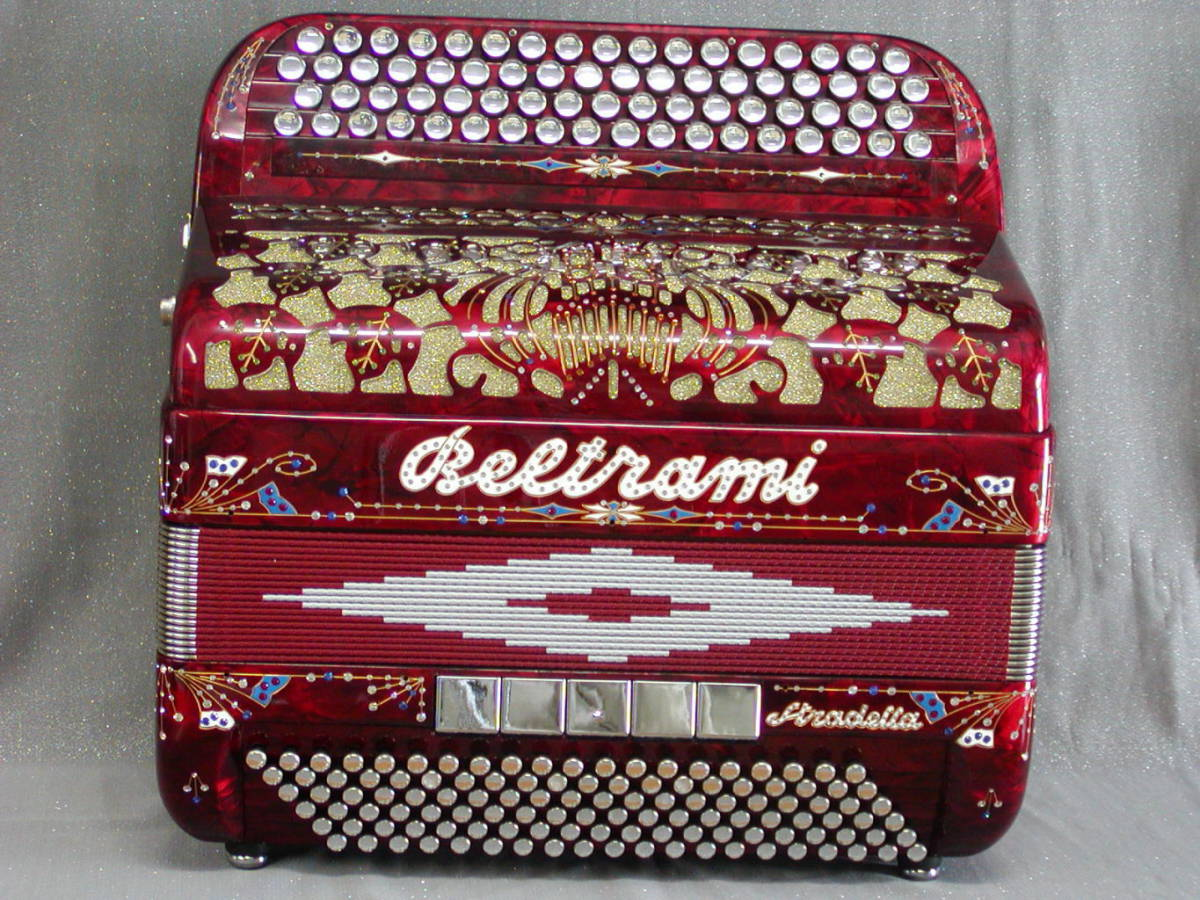 A professional quality instrument with very good quality reeds. Available in a full range of colours. Close-up of the typical Beltrami grille design for this type of instrument also shown.