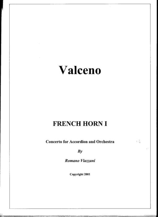 The complete set of parts for Valceno-Concerto for accordion and orchestra: Woodwinds: 2 Flutes (One doubling on bass flute) 1 Piccolo (Doubling on Alto Flute) 2 Oboes 2 Clarinets in Bb 1 Bass Clarinet (Doubling on Eb Clarinet) 2 Basssons 1 Contrabassoon Saxophones: 2 Alto Sax 1 Tenor Sax 1 ! Baritone Sax (Doubling on Alto) 1 Bass Sax (Doubling on Tenor Sax) Brass: 4 French Horns 3 Trumpets 2 Trombones 1 Bass Trobone 1 Tuba Keyboard Instruments: 1 Solo Accordion 2 Accordions 1 Pianoforte Plucked Strings: 1 Harp 1 Acoustic Guitar Strings: 10 Violins I 8 Violins II 6 Violas 6 Cellos 4 Double Basses Percussion 1: 4 Timpani Gong Gran Cassa Percussion 2: Cymbals Wood Block Xylophone Tubular Bells Tambourine Vibraphone Bicycle Bell Castanets Snare Percussion 3 Gran Cassa Snare Drum Kit (Bass Drum, Snare, Hi Hat, Ride Cymbal, Crash Cymbal, Low Tom, Floor Tom) Triangle